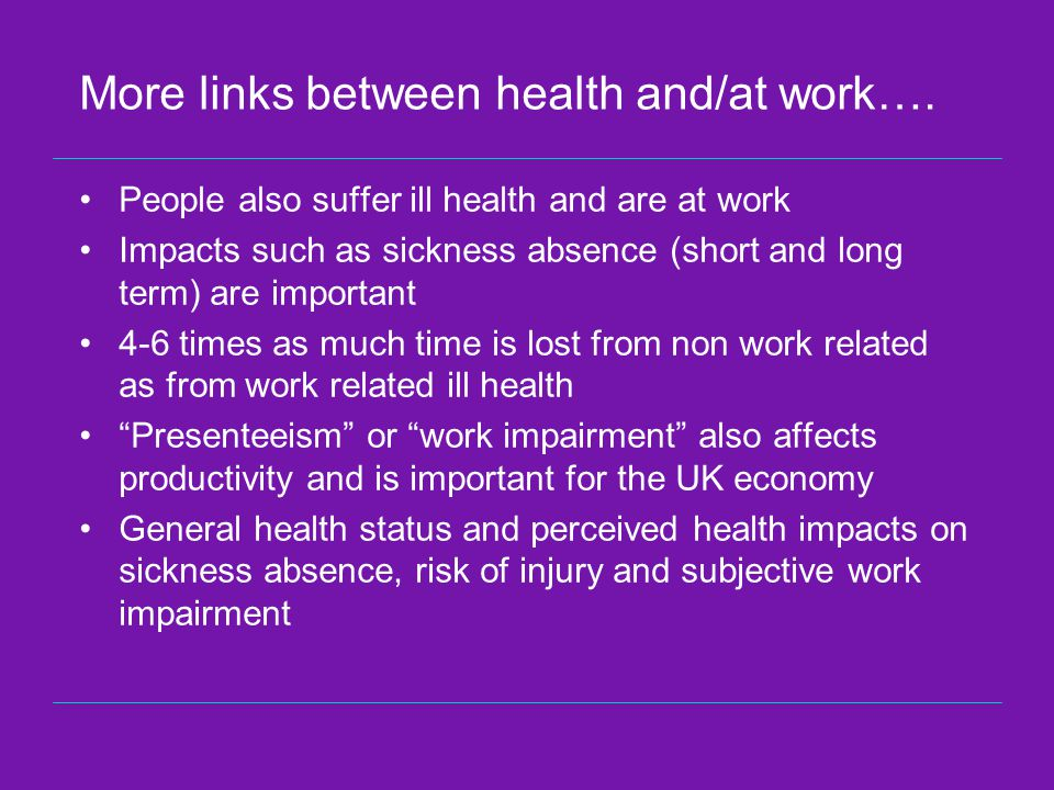 More links between health and/at work….