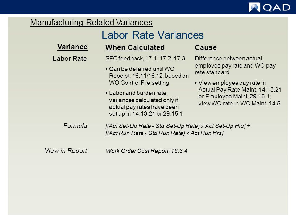 Variance When Calculated Labor Rate SFC feedback, 17.1, 17.2, 17.3 Can be deferred until WO Receipt, 16.11/16.12, based on WO Control File setting Lab