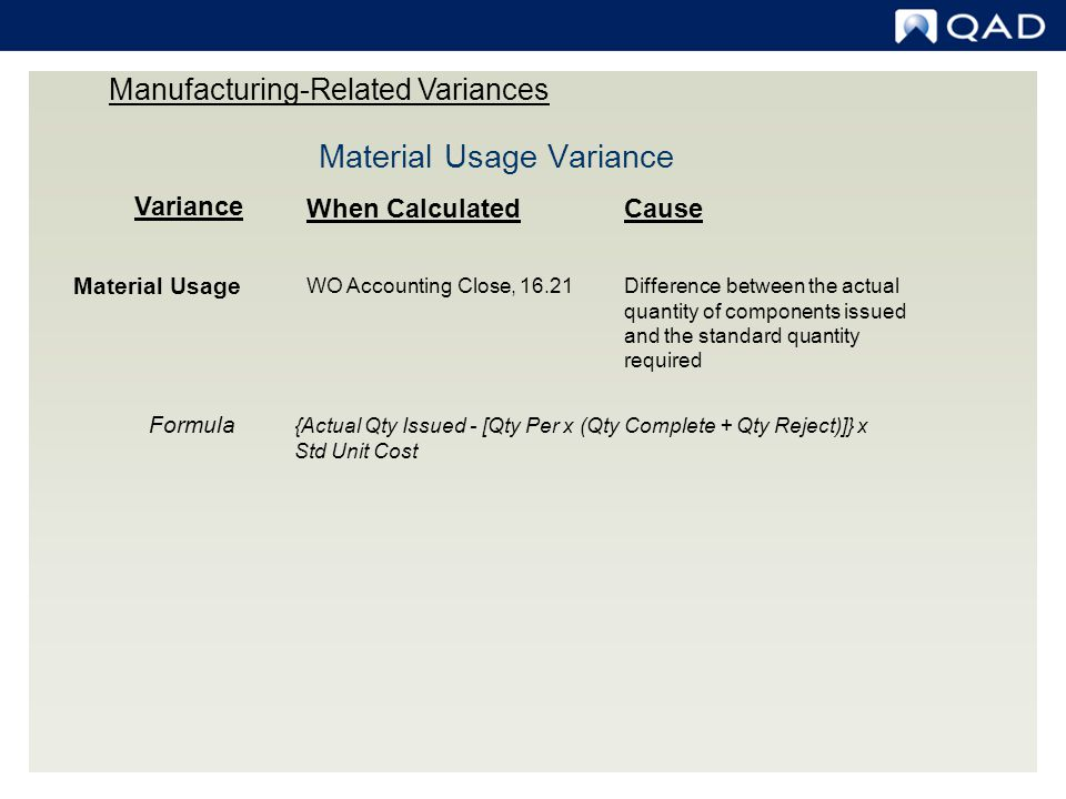 Variance When CalculatedCause Material Usage WO Accounting Close, 16.21Difference between the actual quantity of components issued and the standard qu