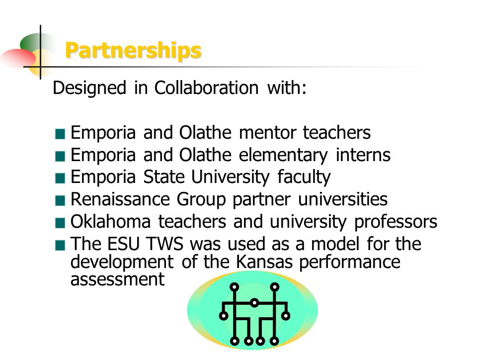 Partnerships Designed in Collaboration with: Emporia and Olathe mentor teachers Emporia and Olathe elementary interns Emporia State University faculty Renaissance Group partner universities Oklahoma teachers and university professors The ESU TWS was used as a model for the development of the Kansas performance assessment