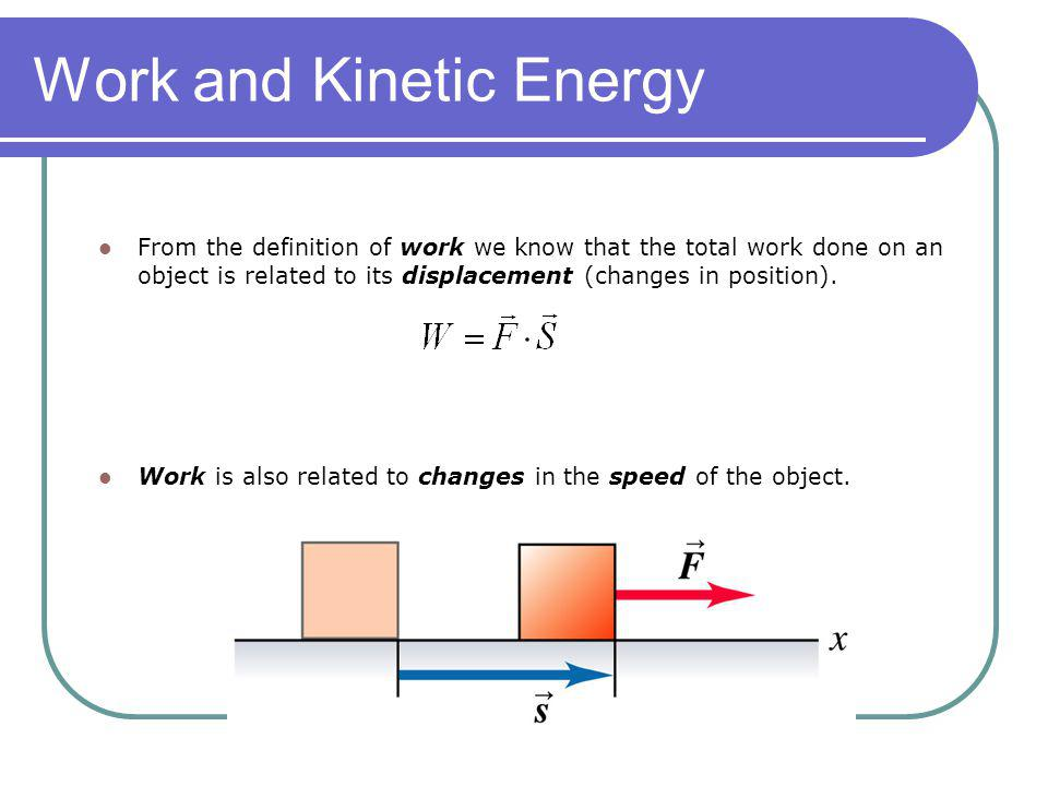 From the definition of work we know that the total work done on an object is related to its displacement (changes in position). Work is also related t