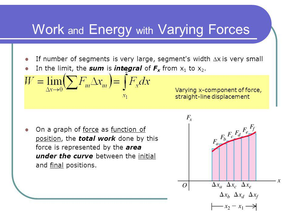 Work and Energy with Varying Forces If number of segments is very large, segment's width x is very small In the limit, the sum is integral of F x from