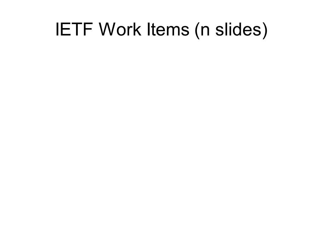 IETF Work Items (n slides)