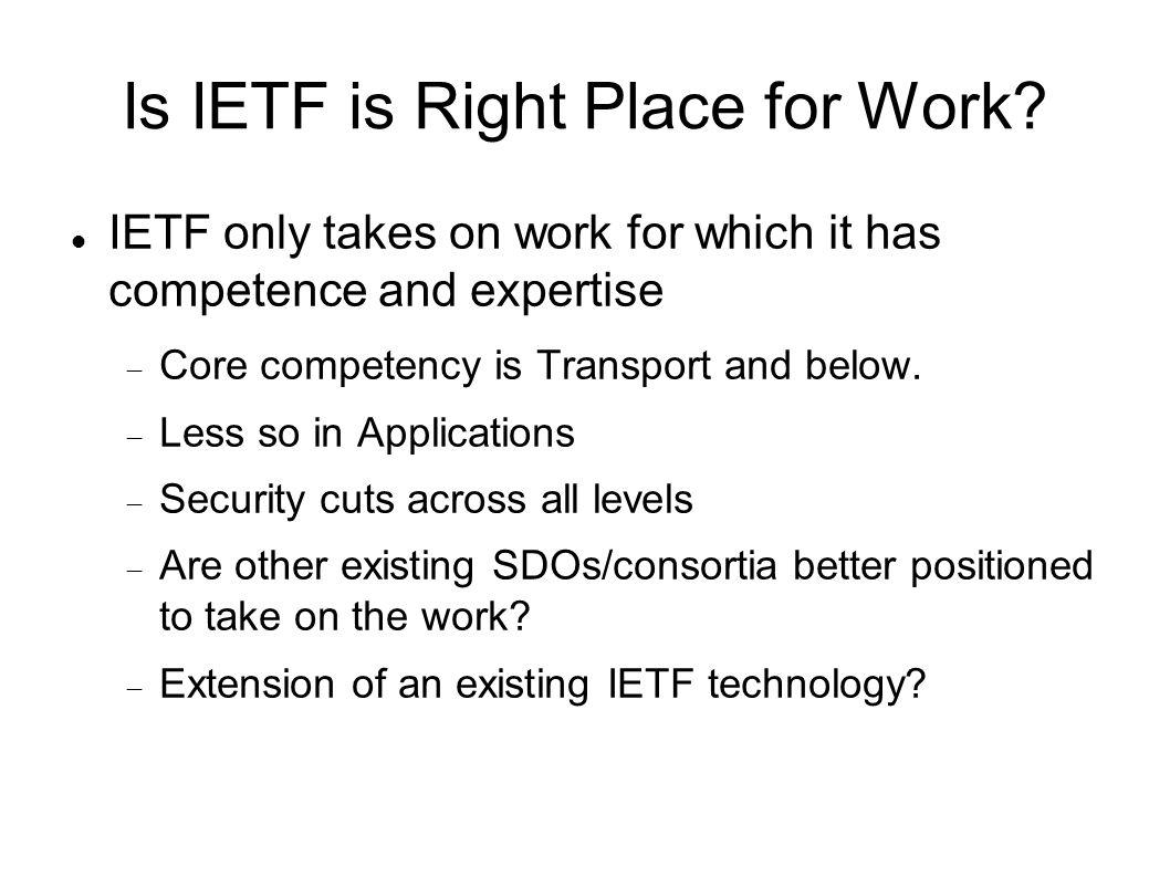 Is IETF is Right Place for Work.