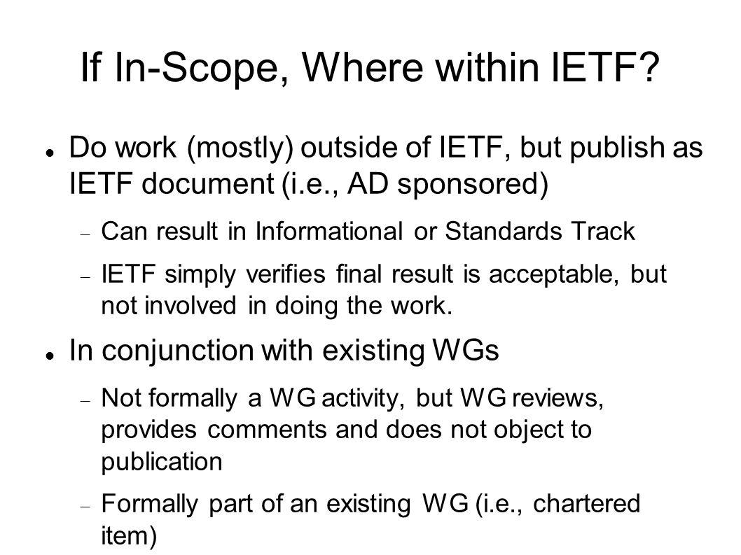 If In-Scope, Where within IETF.