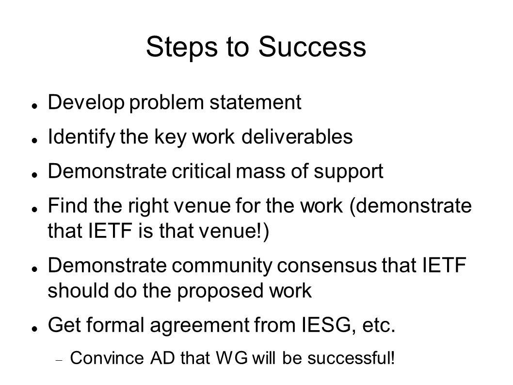 Steps to Success Develop problem statement Identify the key work deliverables Demonstrate critical mass of support Find the right venue for the work (demonstrate that IETF is that venue!) Demonstrate community consensus that IETF should do the proposed work Get formal agreement from IESG, etc.