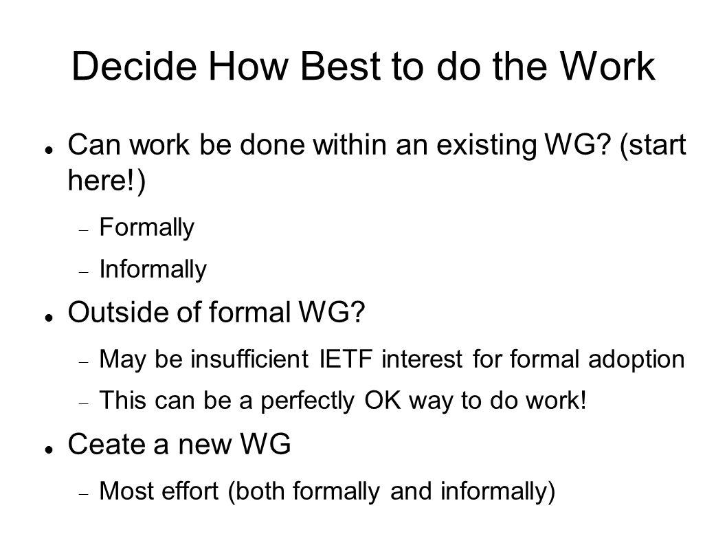 Decide How Best to do the Work Can work be done within an existing WG.