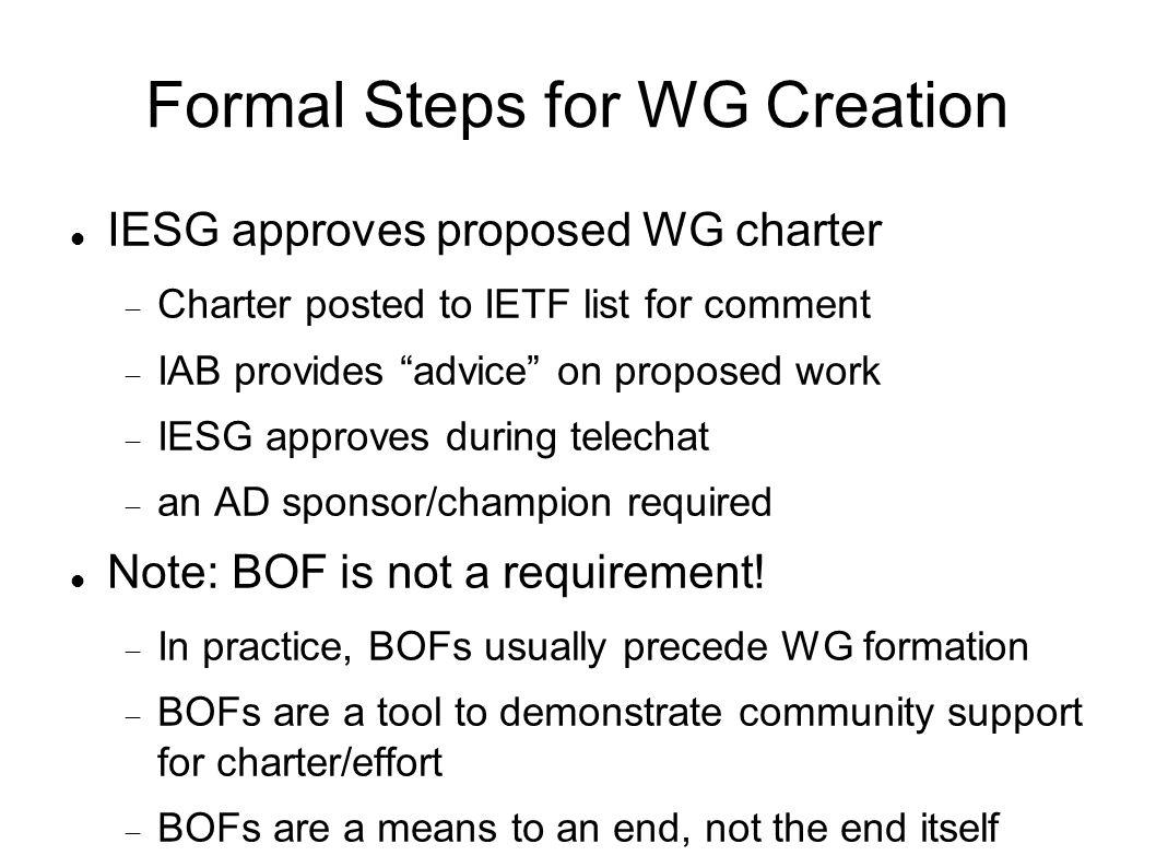 Formal Steps for WG Creation IESG approves proposed WG charter Charter posted to IETF list for comment IAB provides advice on proposed work IESG approves during telechat an AD sponsor/champion required Note: BOF is not a requirement.