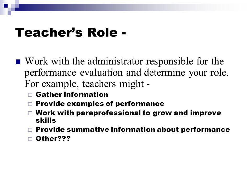 What role do teachers have in paraprofessional performance reviews.