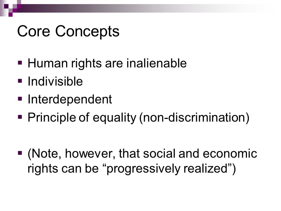 Core Concepts Human rights are inalienable Indivisible Interdependent Principle of equality (non-discrimination) (Note, however, that social and economic rights can be progressively realized)