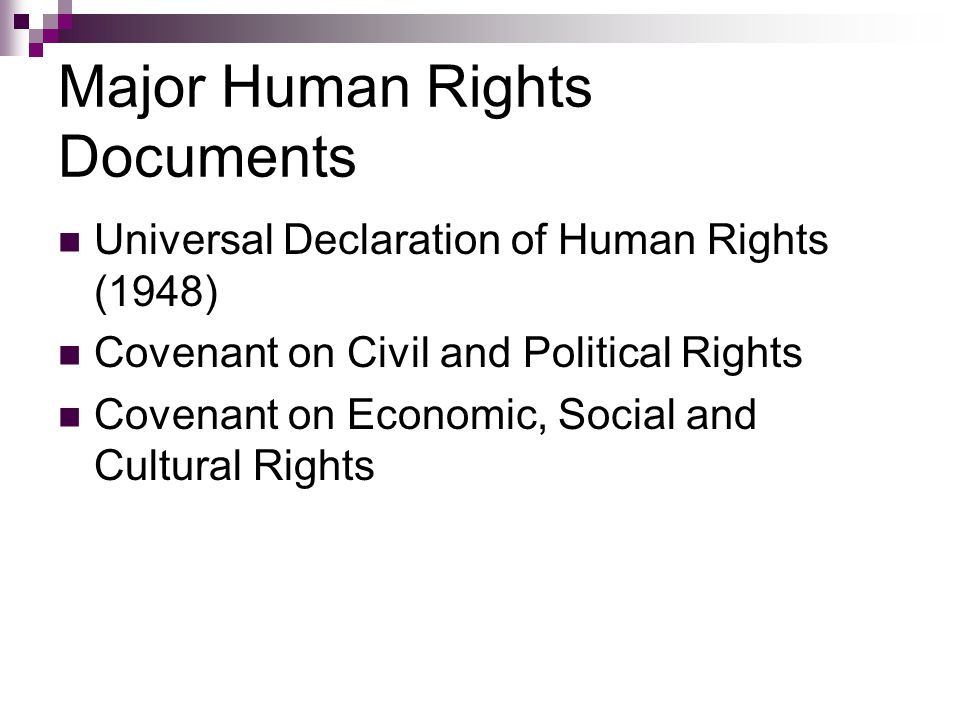 Civil and Political Rights Right to life Right to security of person/bodily integrity Freedom from torture or slavery Equality before the law Privacy & to own property Freedom of assembly/association Freedom of expression Freedom of movement Freedom of religion or belief Political participation Self-determination