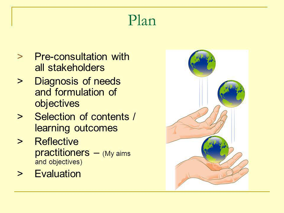 Plan > Pre-consultation with all stakeholders > Diagnosis of needs and formulation of objectives > Selection of contents / learning outcomes > Reflective practitioners – (My aims and objectives) > Evaluation