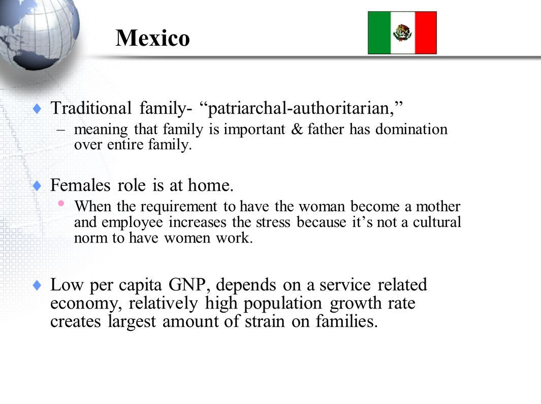 Mexico Traditional family- patriarchal-authoritarian, –meaning that family is important & father has domination over entire family.
