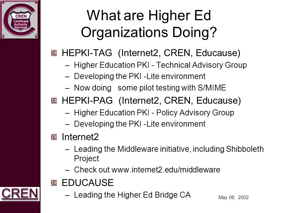 May 06, 2002 What are Higher Ed Organizations Doing? HEPKI-TAG (Internet2, CREN, Educause) –Higher Education PKI - Technical Advisory Group –Developin