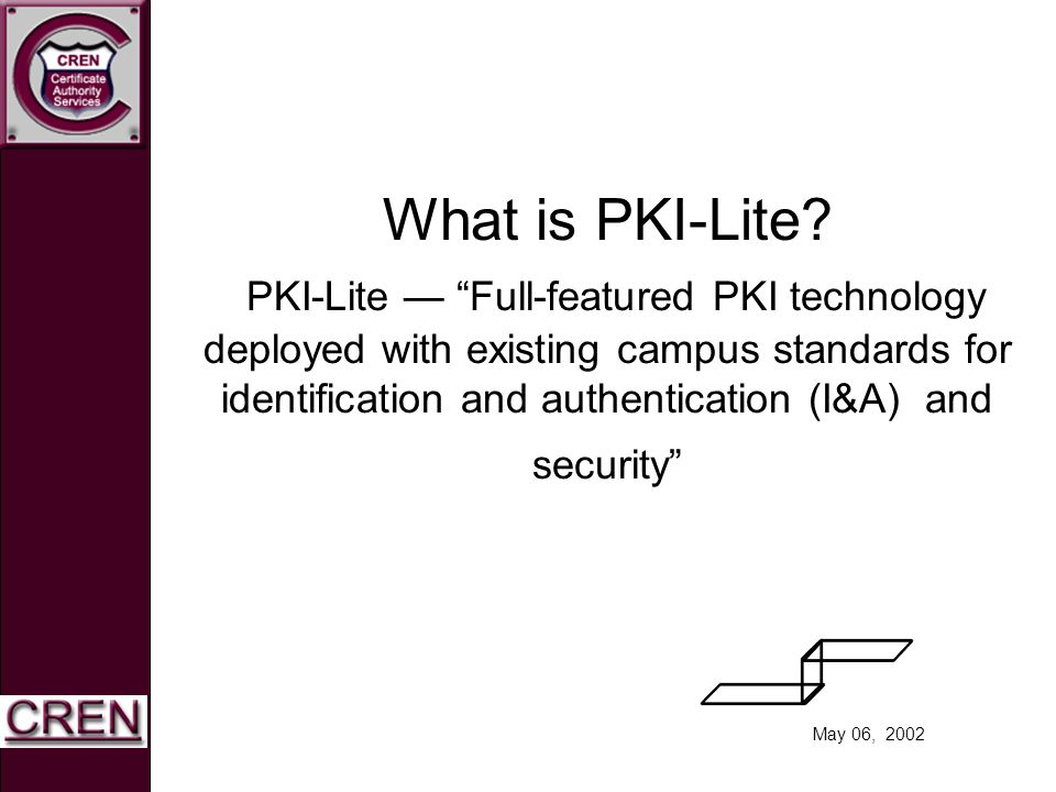 May 06, 2002 What is PKI-Lite? PKI-Lite Full-featured PKI technology deployed with existing campus standards for identification and authentication (I&