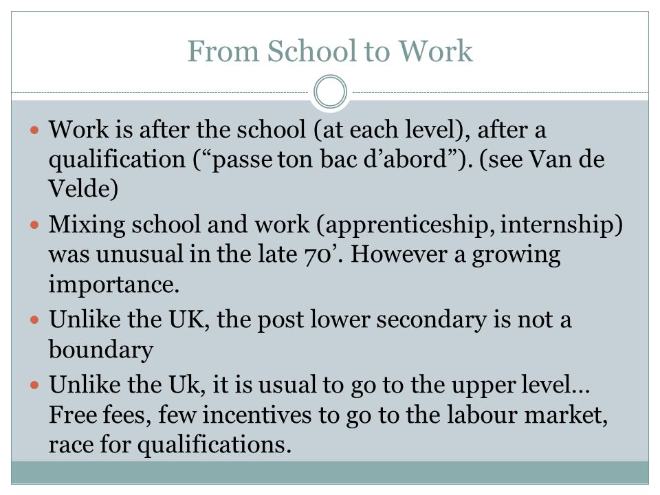 From School to Work Work is after the school (at each level), after a qualification (passe ton bac dabord).