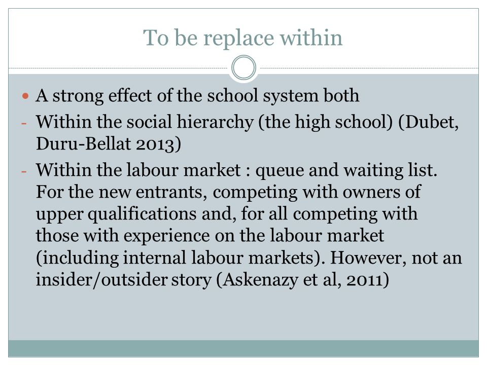 To be replace within A strong effect of the school system both - Within the social hierarchy (the high school) (Dubet, Duru-Bellat 2013) - Within the labour market : queue and waiting list.