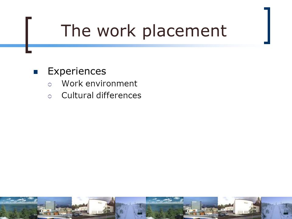 Experiences Work environment Cultural differences