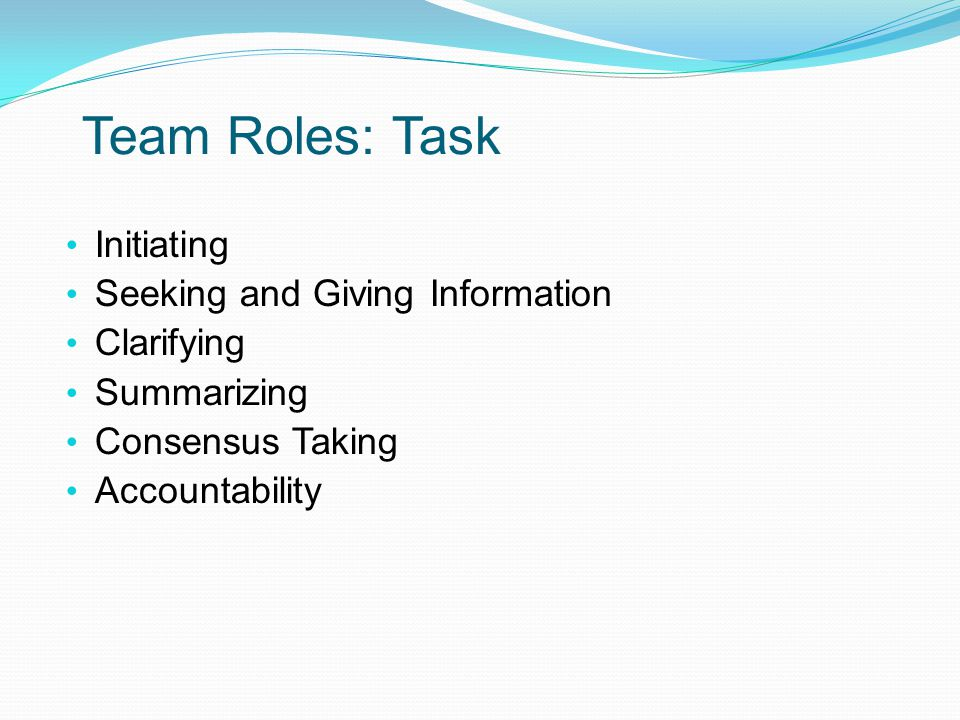 Team Roles: Task Initiating Seeking and Giving Information Clarifying Summarizing Consensus Taking Accountability