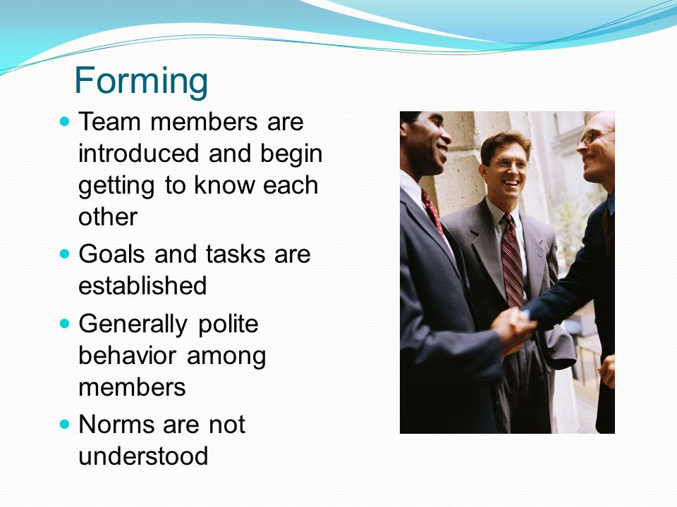 Forming Team members are introduced and begin getting to know each other Goals and tasks are established Generally polite behavior among members Norms