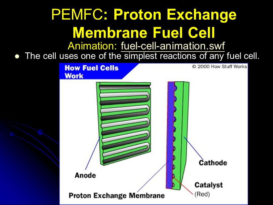 PEMFC: Proton Exchange Membrane Fuel Cell The cell uses one of the simplest reactions of any fuel cell. Animation: fuel-cell-animation.swffuel-cell-an