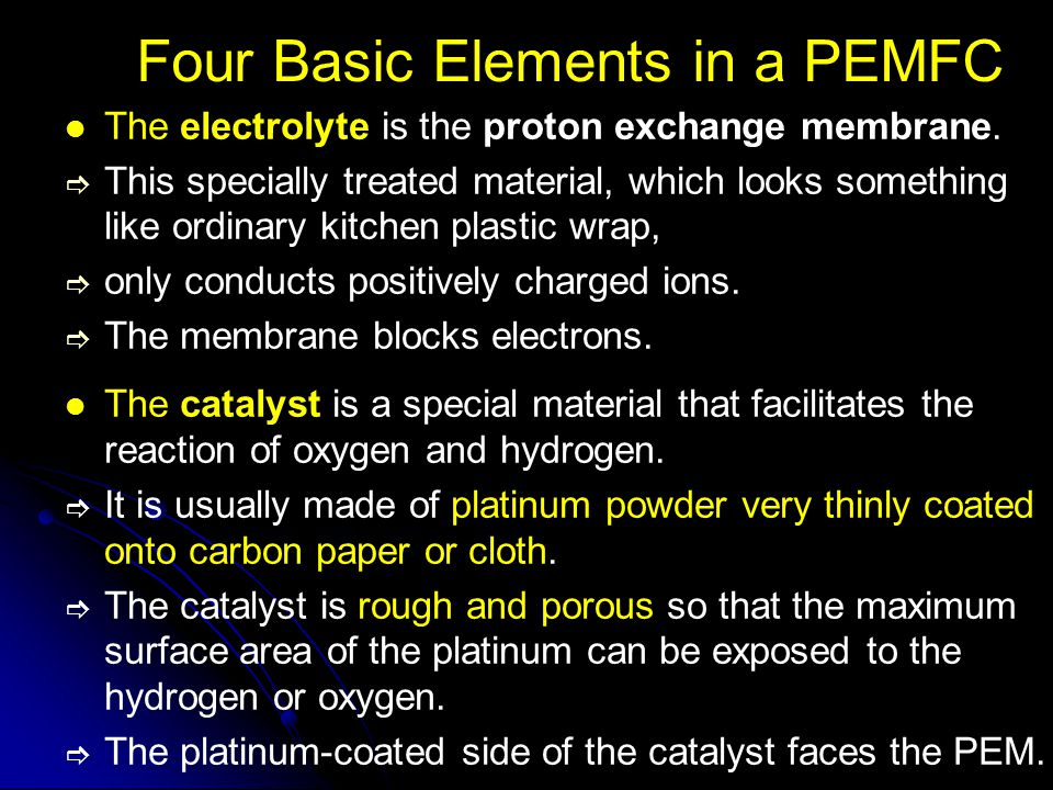 Four Basic Elements in a PEMFC The electrolyte is the proton exchange membrane. This specially treated material, which looks something like ordinary k