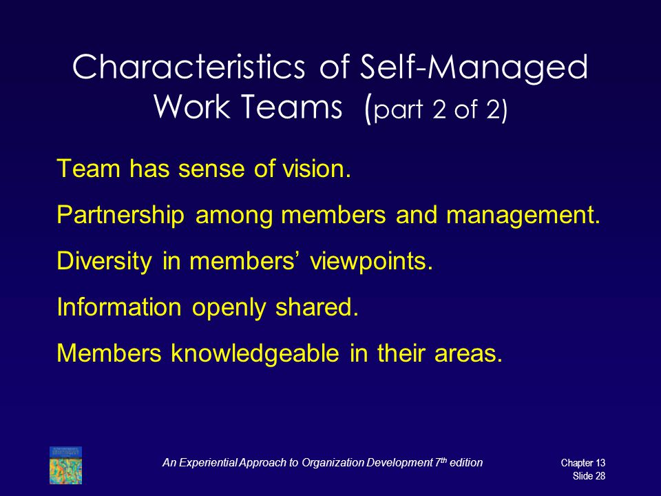 An Experiential Approach to Organization Development 7 th editionChapter 13 Slide 28 Characteristics of Self-Managed Work Teams ( part 2 of 2) Team ha