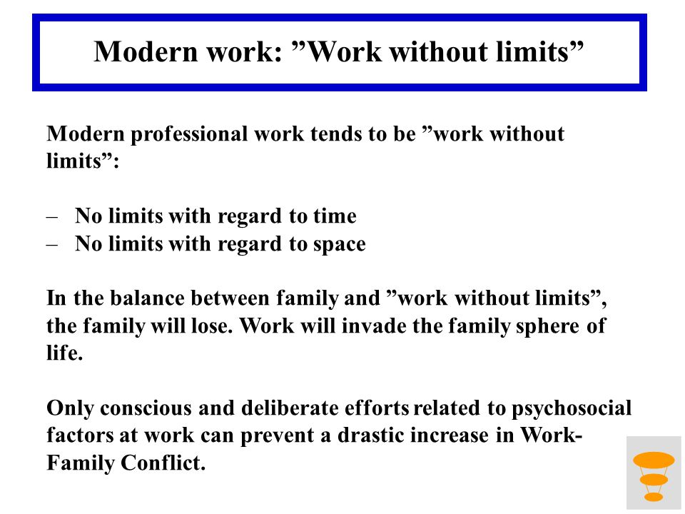 Modern work: Work without limits Modern professional work tends to be work without limits: –No limits with regard to time –No limits with regard to space In the balance between family and work without limits, the family will lose.