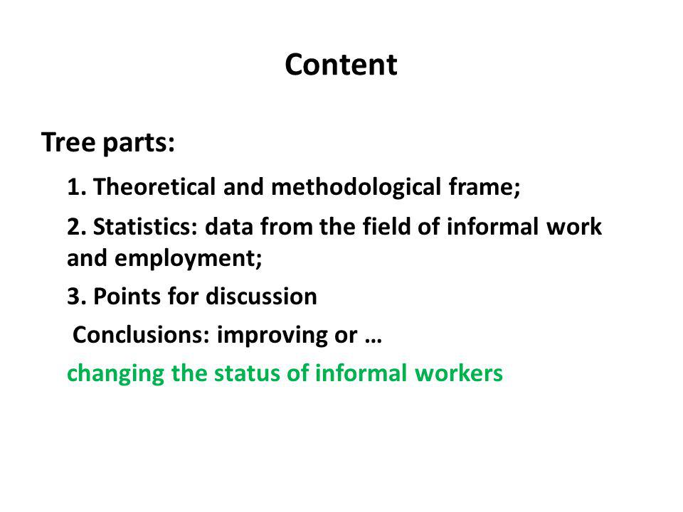 Content Tree parts: 1. Theoretical and methodological frame; 2.