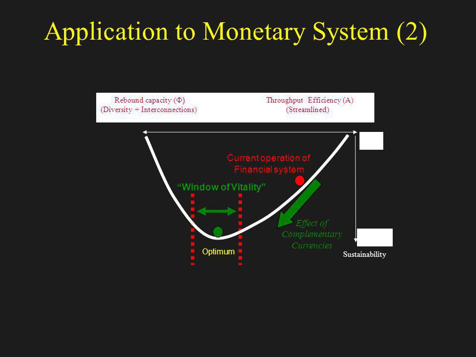 Application to Monetary System (2) Effect of Complementary Currencies Current operation of Financial system Optimum Window of Vitality Rebound capacit