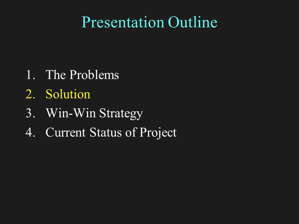 Presentation Outline 1.The Problems 2.Solution 3.Win-Win Strategy 4.Current Status of Project