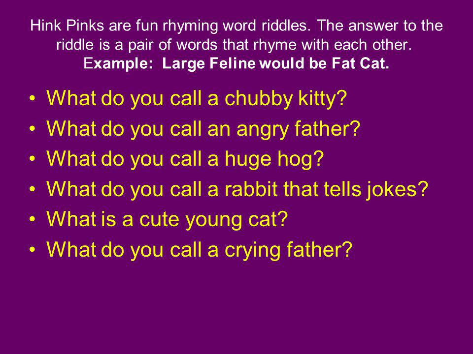 Hink Pinks are fun rhyming word riddles. The answer to the riddle is a pair of words that rhyme with each other. Example: Large Feline would be Fat Ca