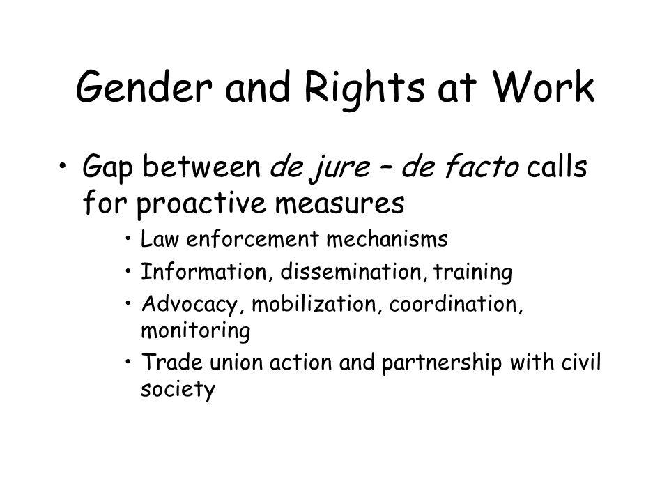 Gender and Rights at Work Gap between de jure – de facto calls for proactive measures Law enforcement mechanisms Information, dissemination, training Advocacy, mobilization, coordination, monitoring Trade union action and partnership with civil society