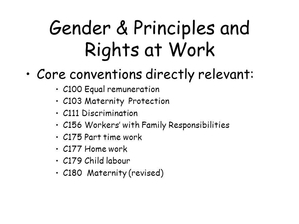 Gender & Principles and Rights at Work Core conventions directly relevant: C100 Equal remuneration C103 Maternity Protection C111 Discrimination C156 Workers with Family Responsibilities C175 Part time work C177 Home work C179 Child labour C180 Maternity (revised)