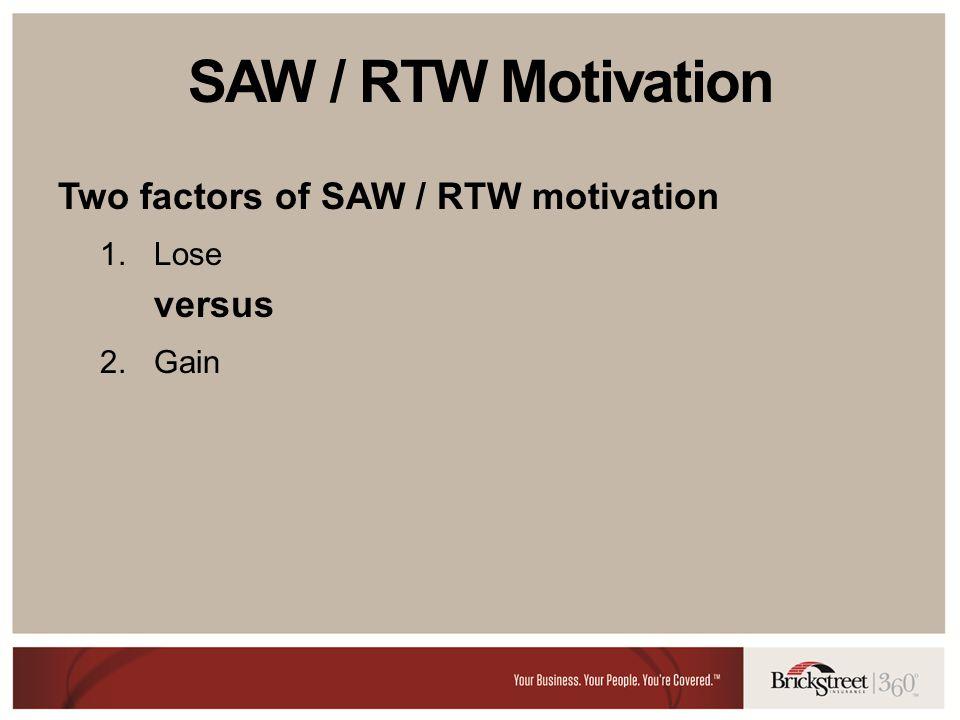 SAW / RTW Motivation Two factors of SAW / RTW motivation 1.Lose versus 2.Gain