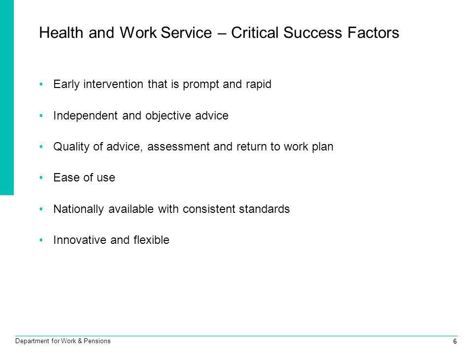 6 Department for Work & Pensions Health and Work Service – Critical Success Factors Early intervention that is prompt and rapid Independent and object