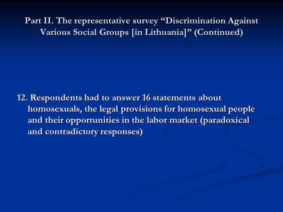 Part II. The representative survey Discrimination Against Various Social Groups [in Lithuania] (Continued) 12. Respondents had to answer 16 statements