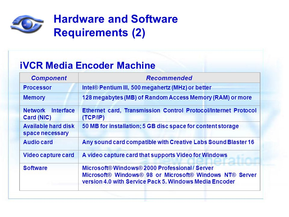 Hardware and Software Requirements (2) iVCR Media Encoder Machine ComponentRecommended ProcessorIntel® Pentium III, 500 megahertz (MHz) or better Memory128 megabytes (MB) of Random Access Memory (RAM) or more Network Interface Card (NIC) Ethernet card, Transmission Control Protocol/Internet Protocol (TCP/IP) Available hard disk space necessary 50 MB for installation; 5 GB disc space for content storage Audio cardAny sound card compatible with Creative Labs Sound Blaster 16 Video capture cardA video capture card that supports Video for Windows SoftwareMicrosoft® Windows® 2000 Professional / Server Microsoft® Windows® 98 or Microsoft® Windows NT® Server version 4.0 with Service Pack 5.