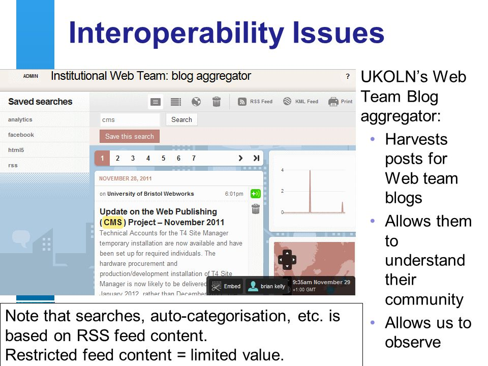 A centre of expertise in digital information managementwww.ukoln.ac.uk Interoperability Issues 35 UKOLNs Web Team Blog aggregator: Harvests posts for Web team blogs Allows them to understand their community Allows us to observe Note that searches, auto-categorisation, etc.