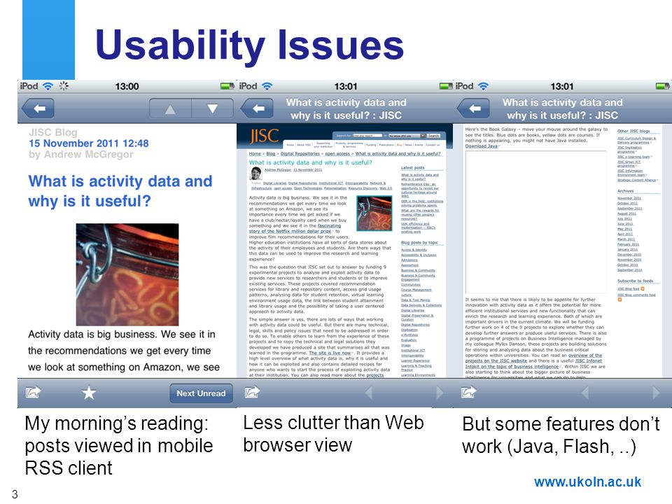 A centre of expertise in digital information managementwww.ukoln.ac.uk Usability Issues Who normally reads blog posts: On a mobile device On desktop P