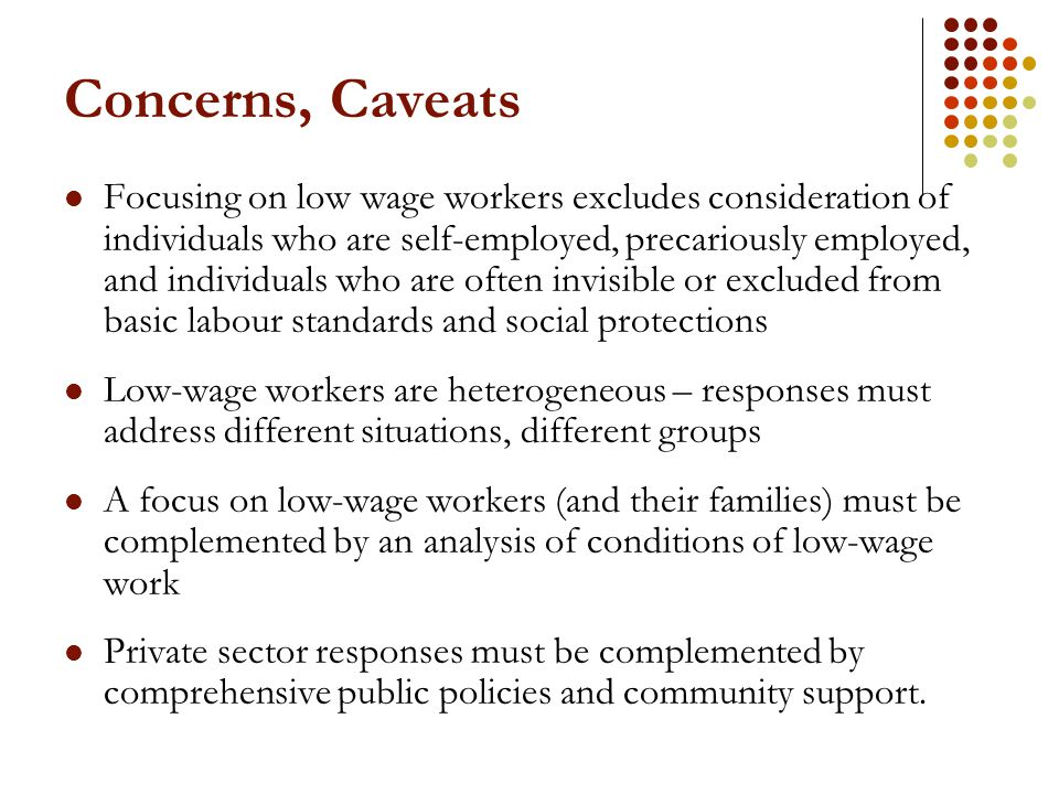 Concerns, Caveats Focusing on low wage workers excludes consideration of individuals who are self-employed, precariously employed, and individuals who