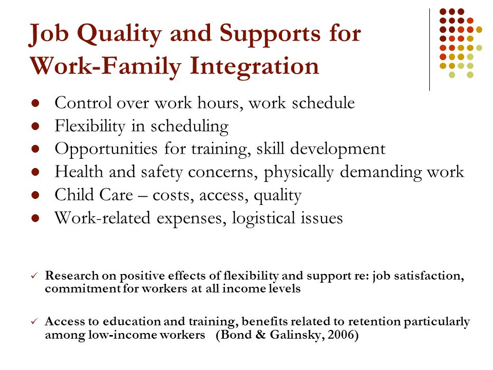 Job Quality and Supports for Work-Family Integration Control over work hours, work schedule Flexibility in scheduling Opportunities for training, skil