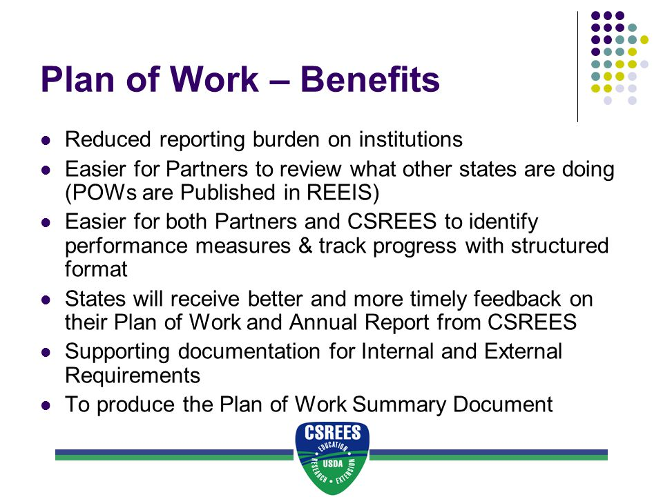 Plan of Work – Benefits Reduced reporting burden on institutions Easier for Partners to review what other states are doing (POWs are Published in REEIS) Easier for both Partners and CSREES to identify performance measures & track progress with structured format States will receive better and more timely feedback on their Plan of Work and Annual Report from CSREES Supporting documentation for Internal and External Requirements To produce the Plan of Work Summary Document