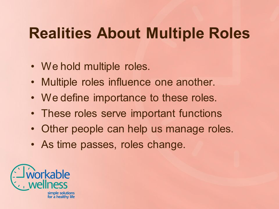 Realities About Multiple Roles We hold multiple roles. Multiple roles influence one another. We define importance to these roles. These roles serve im