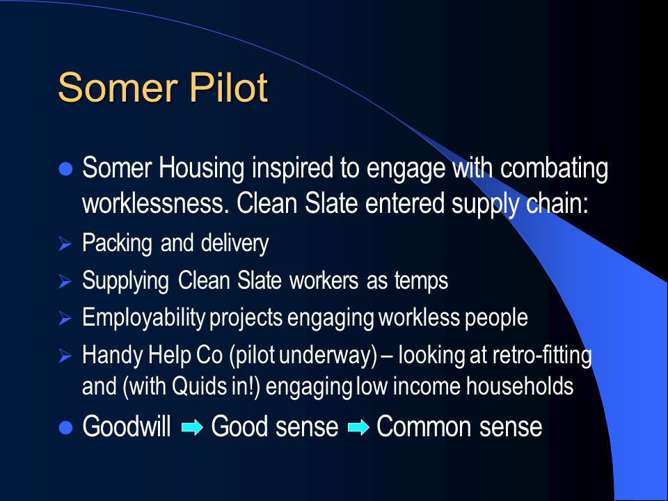 Somer Pilot Somer Housing inspired to engage with combating worklessness.