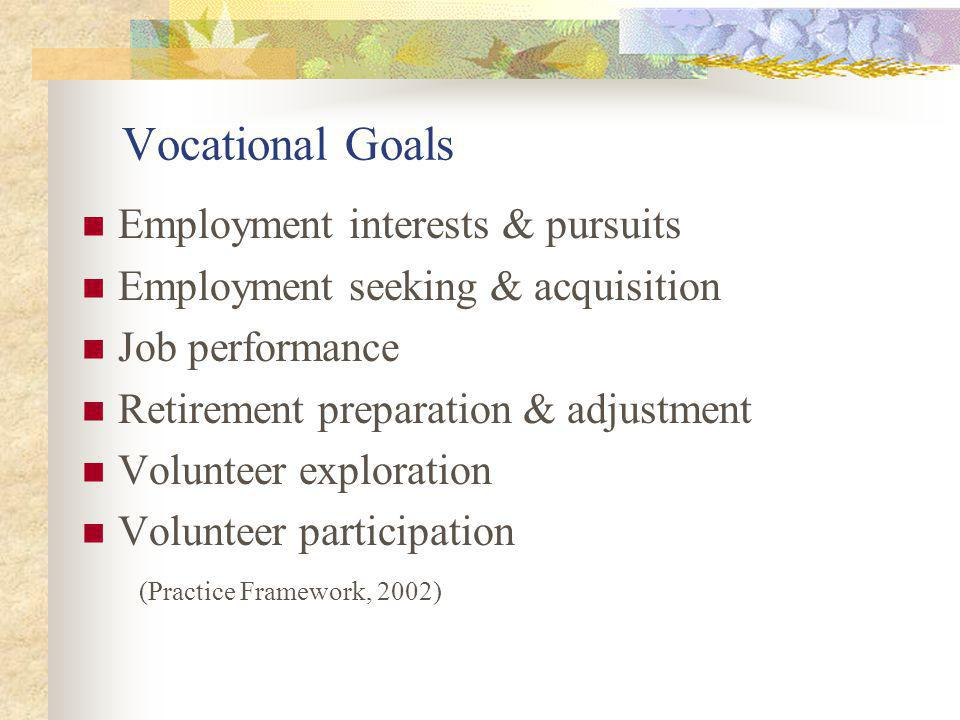 Vocational Goals Employment interests & pursuits Employment seeking & acquisition Job performance Retirement preparation & adjustment Volunteer exploration Volunteer participation (Practice Framework, 2002)