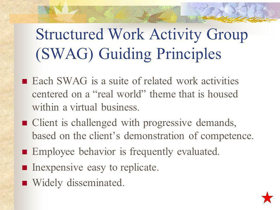 Structured Work Activity Group (SWAG) Guiding Principles Each SWAG is a suite of related work activities centered on a real world theme that is housed within a virtual business.
