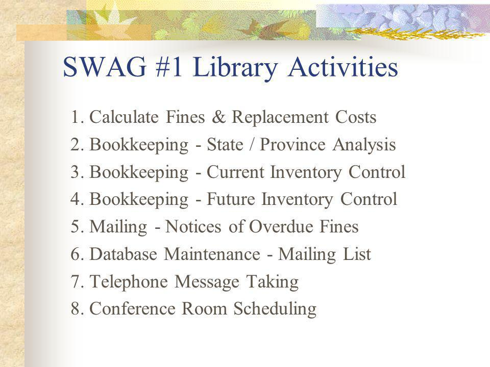 SWAG #1 Library Activities 1. Calculate Fines & Replacement Costs 2.