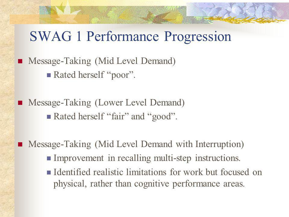 SWAG 1 Performance Progression Message-Taking (Mid Level Demand) Rated herself poor.