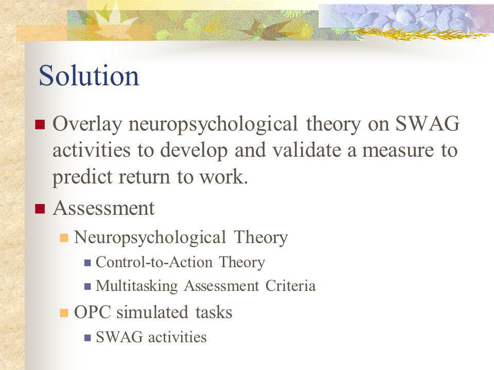 Solution Overlay neuropsychological theory on SWAG activities to develop and validate a measure to predict return to work.
